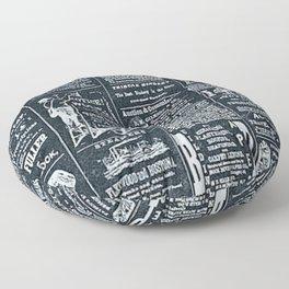 Vintage News   Newspaper   Negative   Print Shop Floor Pillow