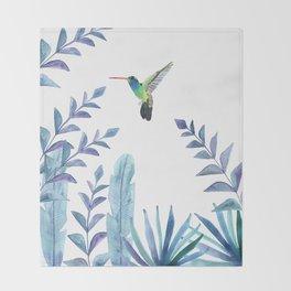 Hummingbird with tropical foliage Throw Blanket