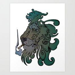 Smoking Lion Art Print