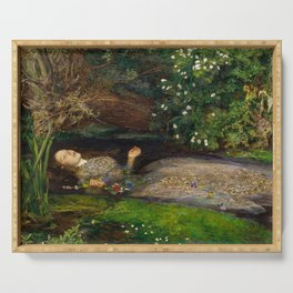 Ophelia from Hamlet Oil Painting by Sir John Everett Millais Serving Tray