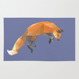 Low Poly Flying Red Fox Rug