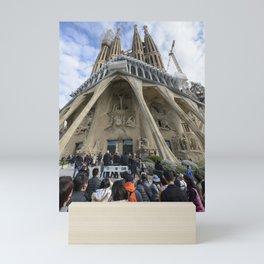 Tourists at the Passion Facade Sagrada Familia Mini Art Print