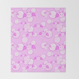 Bubbles and Bats Pink Throw Blanket