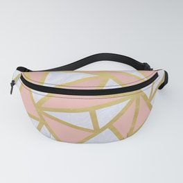 Pink Gold and Marble Geometric Triangles Art Deco Fanny Pack