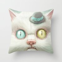 kitty Throw Pillows featuring Release the Odd Kitty!!! by Dr. Lukas Brezak