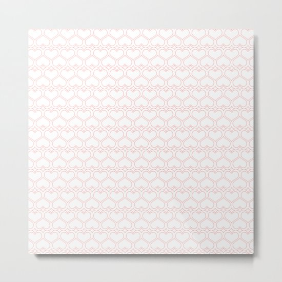 Lovely Pink and White Heart Pattern Metal Print