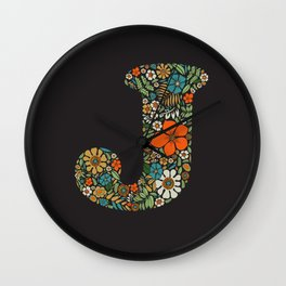 Hippie Floral Letter J Wall Clock