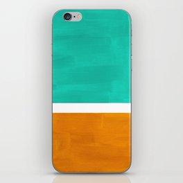 Marine Green Yellow Ochre Mid Century Modern Abstract Minimalist Rothko Color Field Squares iPhone Skin