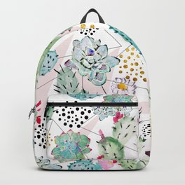 Modern triangles and hand paint cactus pattern Backpack