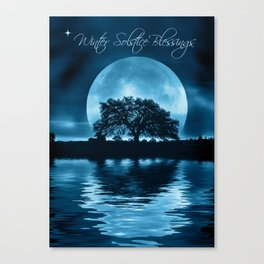 Winter Solstice Blessings Cards with Oak Tree, Moon and Water Canvas Print