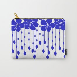 Hibiscus Bead Curtain: LAPIS White Carry-All Pouch