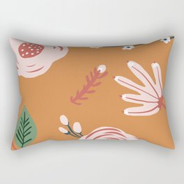 Orange Florals Rectangular Pillow
