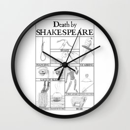 Death by Shakespeare Wall Clock