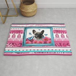 turquoise Frame - Pug with Morpho Butterflies Rug