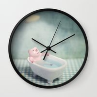 chill Wall Clocks featuring Chill by m4Calliope