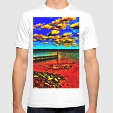 Colorful Sunset on Beachfront MEDIUM White Mens Fitted Tee