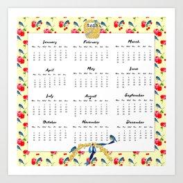 2015 Calendar, Bluebirds and Geraniums Art Print