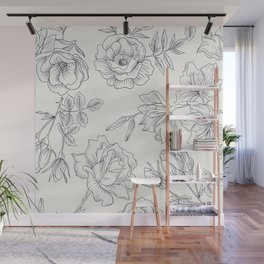 black white seamless flowes Wall Mural