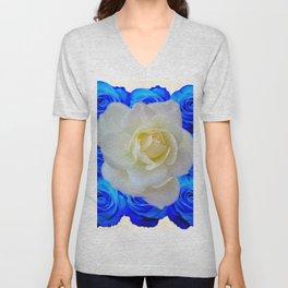 DECORATIVE WHITE & BLUE ROSES GARDEN ART Unisex V-Neck