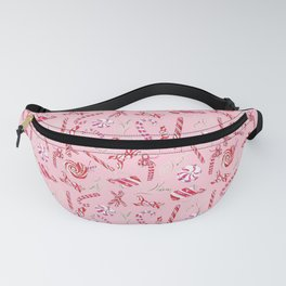 Peppermint Everything Holiday in Pink Background Fanny Pack