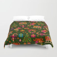 christmas x stitch pattern for the holiday mood Duvet Cover