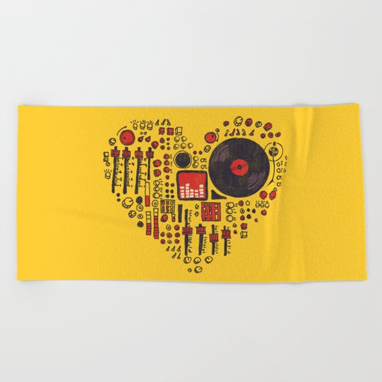 Music in every heartbeat Beach Towel