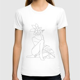 Minimal Line Art Woman with Tropical Leaves T-shirt