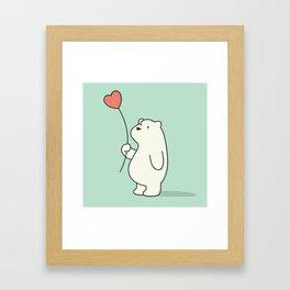 Kawaii Cute Polar Bear Framed Art Print