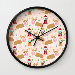 Corgi welsh corgis gumball bubblegum cute dog breed corgis pet gifts Wall Clock