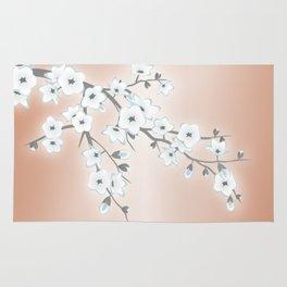 Rose Gold White Cherry Blossom Rug