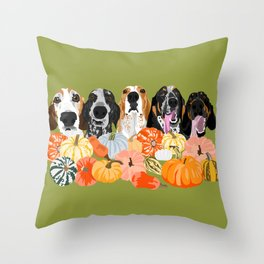 Coonhounds and Gourd Throw Pillow