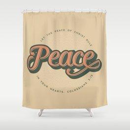 """PEACE"" Bible Verse Print Shower Curtain"
