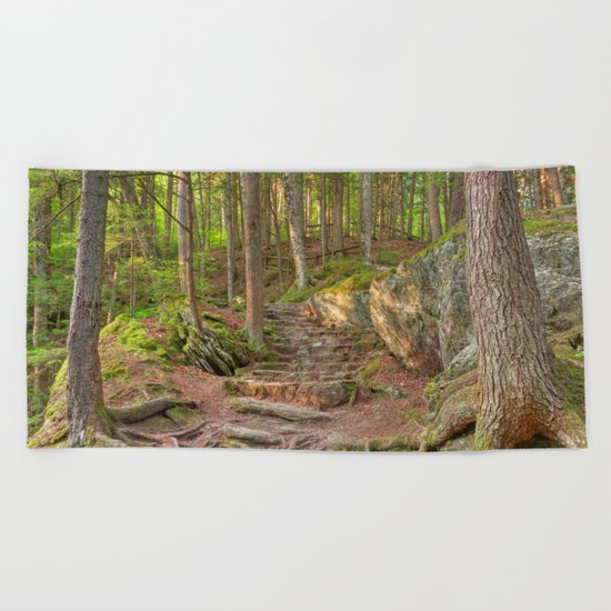 Green Mountain Forest Trail Beach Towel
