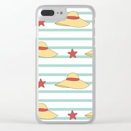 cute summer hats seamless pattern background Clear iPhone Case