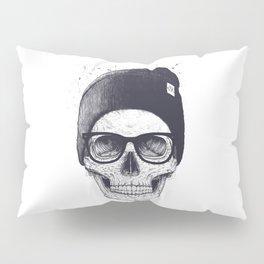 Grey Skull in a hat Pillow Sham