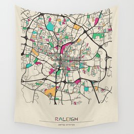 Colorful City Maps: Raleigh, North Carolina Wall Tapestry