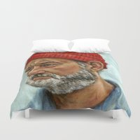 murray Duvet Covers featuring Bill Murray / Steve Zissou by Heather Buchanan