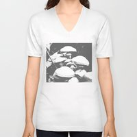 mushroom V-neck T-shirts featuring Mushroom by Nick Strother
