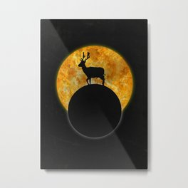 Deer Walking On The Moon Metal Print