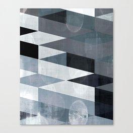blue abstract, abstract art, office art, contemporary art, geometric print, modern painting, mid cen Canvas Print