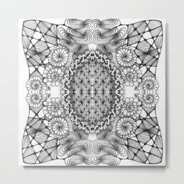 Black and White Zentangle Tile Doodle Design Metal Print