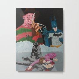 Bat man vs Freddy Metal Print