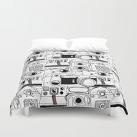 cameras Duvet Covers featuring Vintage Cameras by maceymack