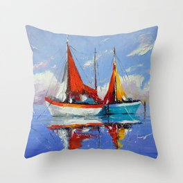 Sailboats in the sea Throw Pillow