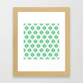 Mid Century Modern Bang Pattern 272 Green Framed Art Print