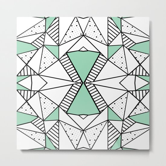 Ab Lines and Spots Mint Metal Print