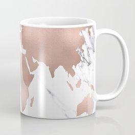 Marble World Map Rose Gold Pink Coffee Mug