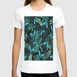 Tropical Butterfly Jungle Night Leaves Pattern #5 #tropical #decor #art #society6 T-shirt