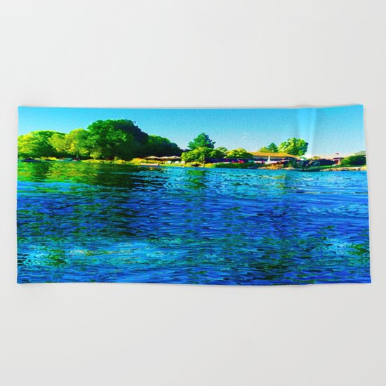 Bright River Flowing Beach Towel