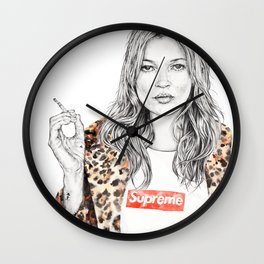 Kate Moss Supreme Leopard Print Portrait Wall Clock